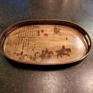 Pier 1 Asian design oval wooden serving tray
